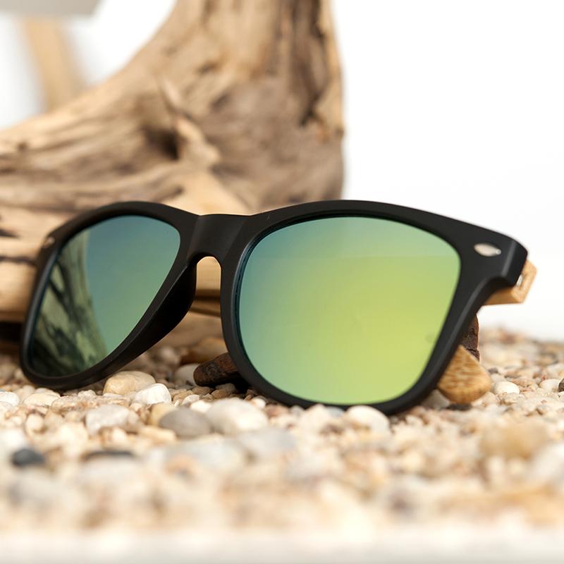 BOBO BIRD Black Square Sunglasses With Bamboo Mirrored 14
