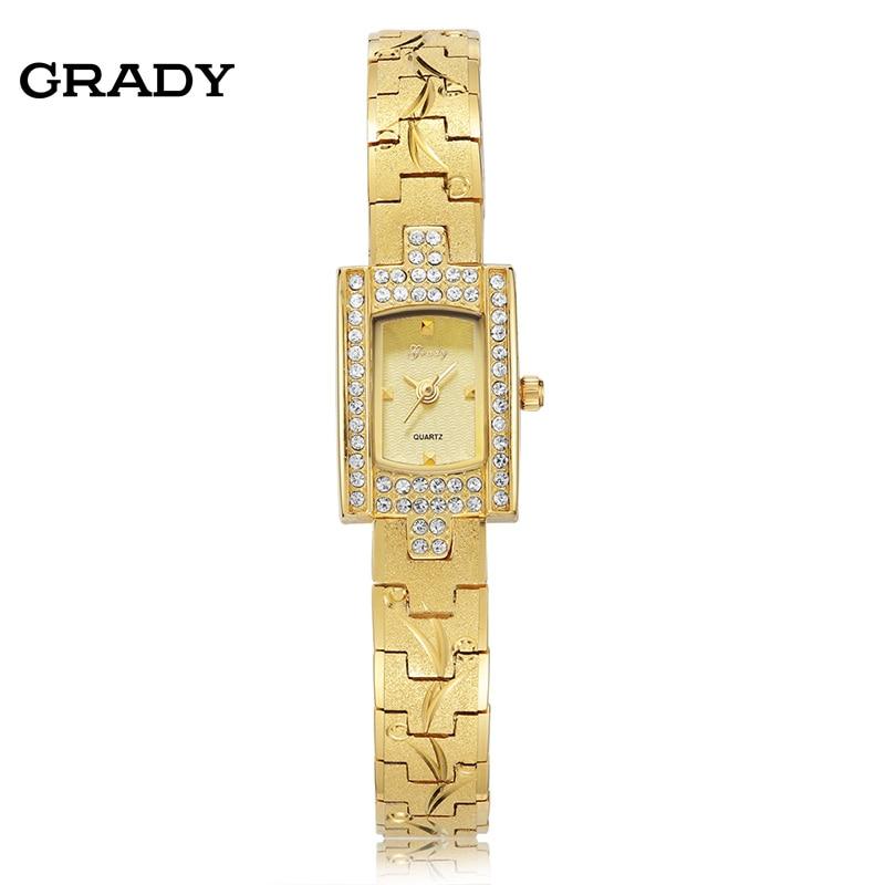 GRADY Women Gold Bracelet wristwatch fashion lady quartz rhinestone watch Free shipping women s stylish punk rivet rhinestone inlaid pu band quartz bracelet watch blue gold 1 x 377
