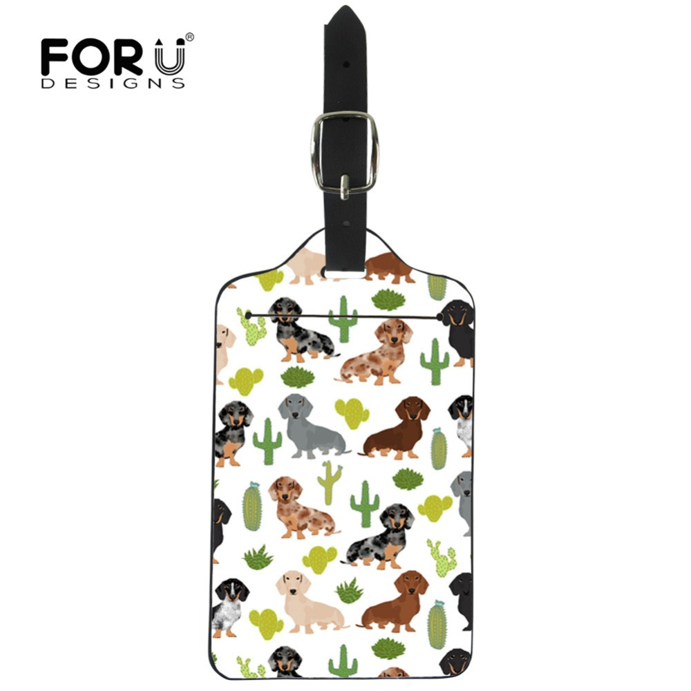 FORUDESIGNS Dachshund Dog Cactus Floral Printing Luggage Tags ID Address Holder Suitcase Portable Label Cover Travel Accessories