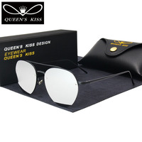QUEENS KISS Oval Sunglasses Women Retro Coating Mirror Sunglasses Famous Brand Designer Sun Glasses Metal Legs