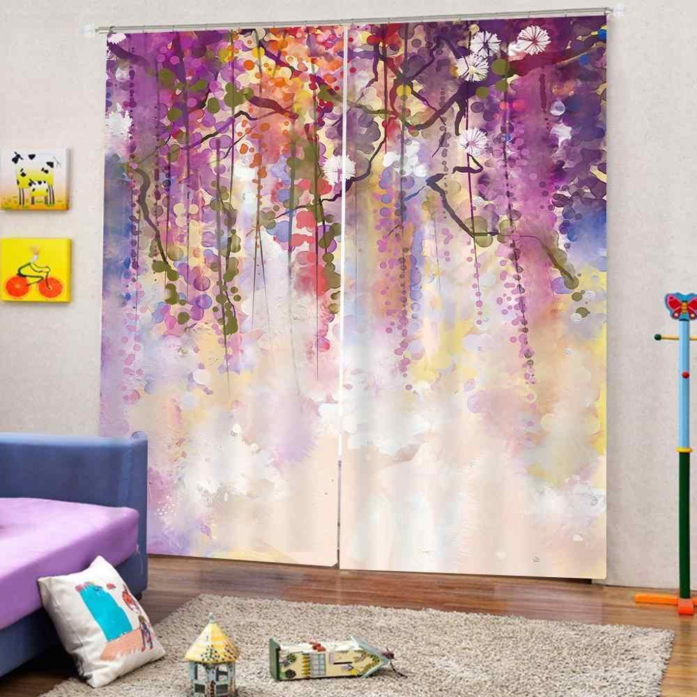 purple curtains flower 3D Curtain Luxury Blackout Window Curtain Living Room  Blackout curtain