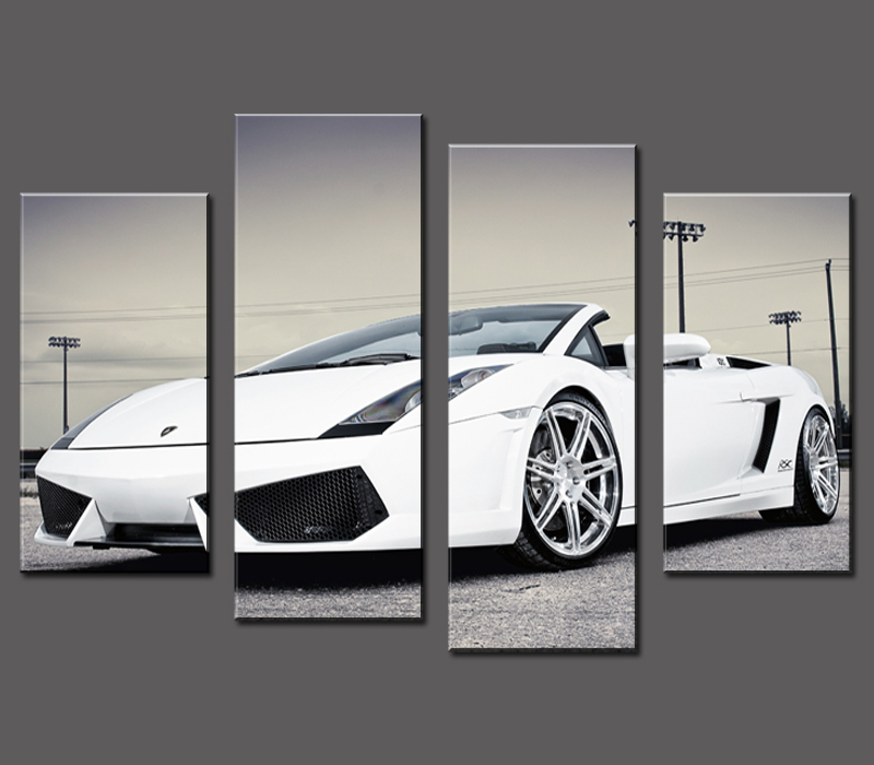 Wall Pictures For Living Room Paintings 4 Pcs Sports Car Wall Art Painting Home Decoration Living Room Canvas Print On Picture