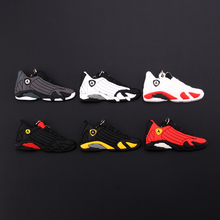 New Mini Jordan 14 Keychain Shoe Men Wome Kids Key Ring Gift Basketball Sneaker Key Chain Key Holder Porte Clef mini silicone sply 350 v2 shoes keychain woman bag charm men kids key ring gift sneaker key chain acessorios porte clef
