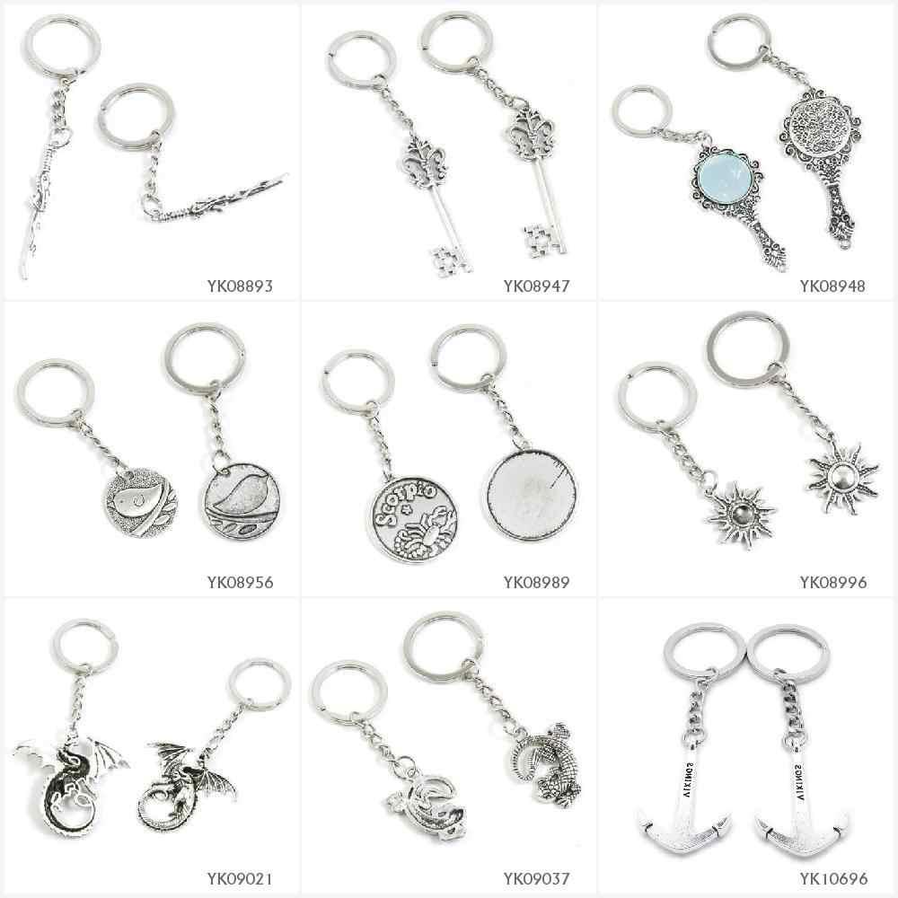 מתכת עתיק כסף Keychain Keyring Keytag מפתח שרשרת טבעת חרב סאבר סייבר פרח שלד קסם מראה ציפור סימנים עקרב