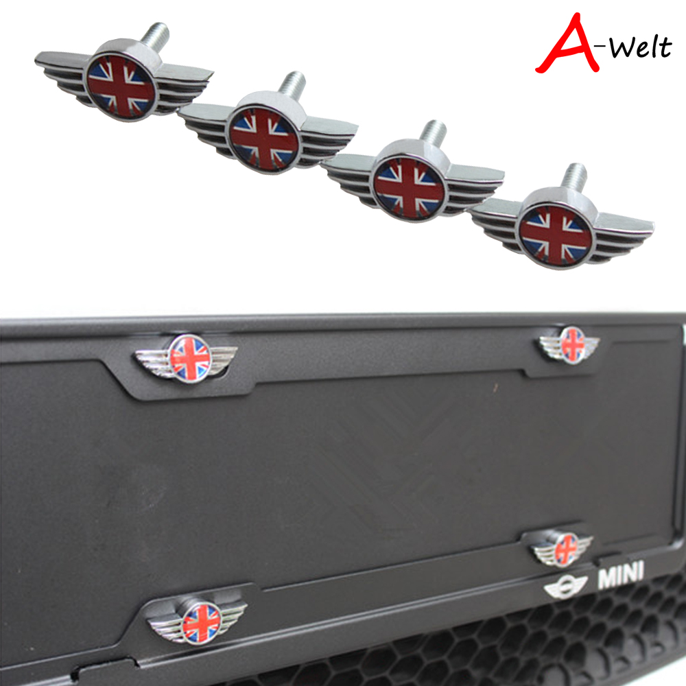 4pcs Union Jack wing Auto Stainless steel Car License Plate Bolts ...