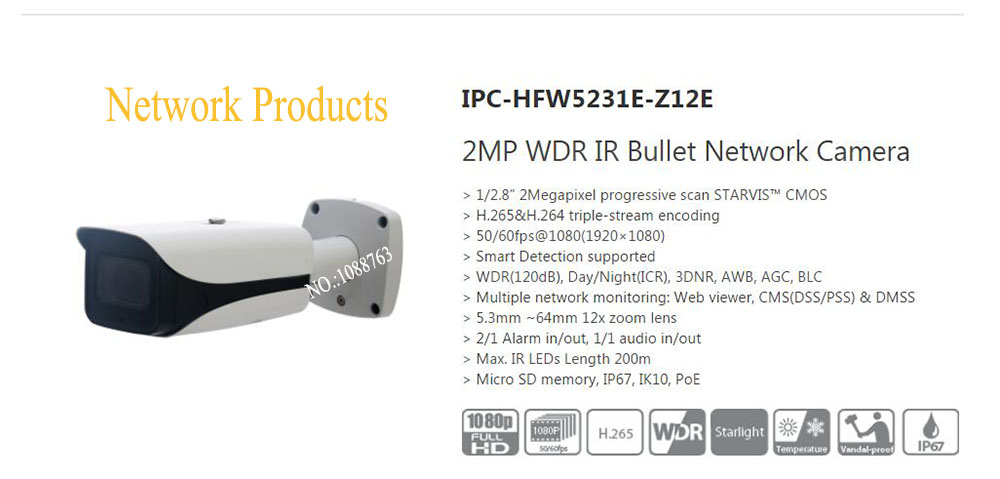 Free Shipping DAHUA Security IP Camera 2MP WDR IR Bullet Network Camera IP67 IK10 with POE without Logo IPC-HFW5231E-Z12E free shipping dahua security ip camera 2mp full hd wdr network small ir bullet camera outdoor camera without logo ipc hfw4221e