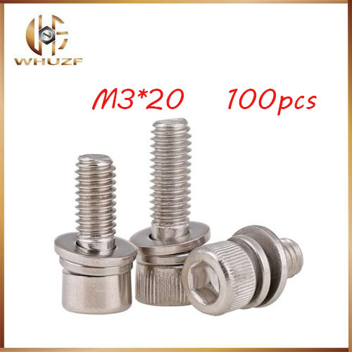 Free Shipping 100pcs/Lot Combination screws DIN912 <font><b>M3x20mm</b></font> M3*20mm 304 Stainless Steel Hex Socket Head Cap Screw Bolts image