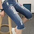 Бесплатная доставка 2016 летние новых мужчин большой размер щиколотки джинсы узкие джинсы отверстие