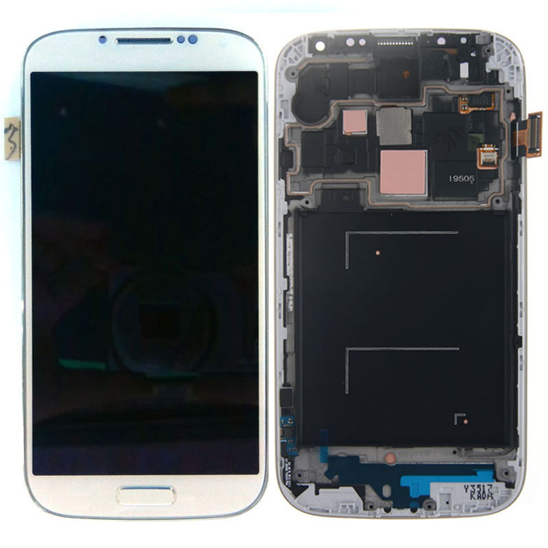 LCD Display Assembly Touch Screen Digitizer + Frame Bezel For Samsung Galaxy S4 I9505 White Free Shipping