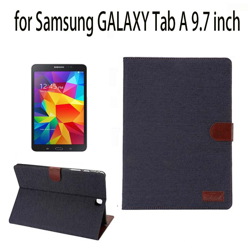fashion Denim PU leather Cover Case for Samsung GALAXY Tab A 9.7 SM-T550 T555 P550 tablet Protective shell/skin case+film+pen