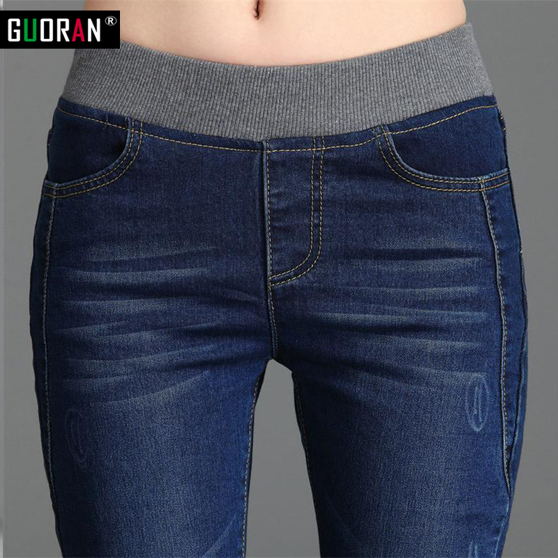 Cashmere Winter Warm Jeans Women With High Waist Blue Jeans For Girls Stretching Skinny Jeans Elastic Waist Large Size 26-34