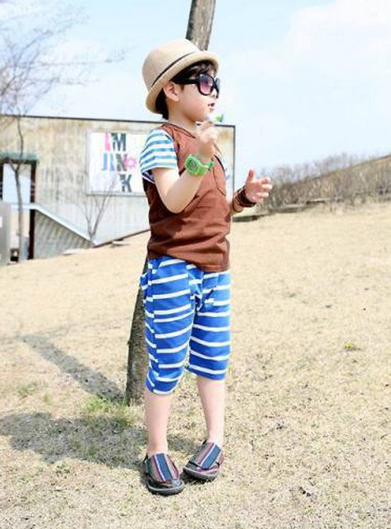 2-7 ages High quality 100% cotton summer children clothes striped cartoon cute kid baby  ...