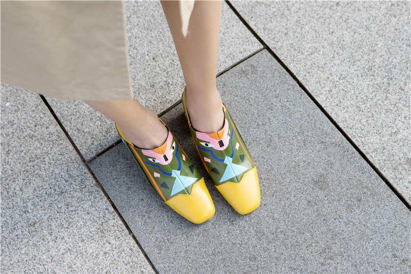 FEDONAS 19 Fashion Prints Women Synthetic Leather High Heels Party Wedding Shoes Woman Square Toe Spring Summer Basic Pumps 19
