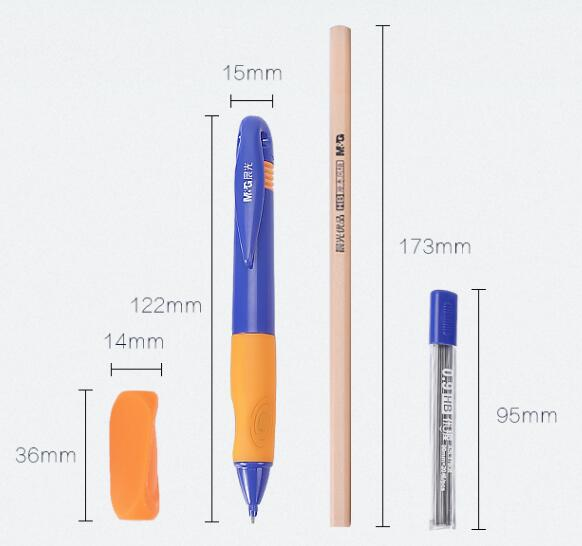 HAMP0873 Wood pencils and mechanical wood pencils with grips help children to correct writing M&G