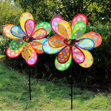 Kids Toy Double Layer Peacock Laser Sequins Windmill Colourful Wind Spinner Home Garden Decor Yard(China)