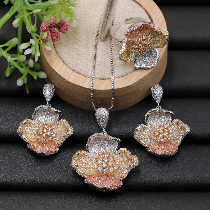 Lanyika Jewelry Set Bridal Luxury Flower Micro Paved Cubic Zircon Necklace with Earrings and Ring for Anniversary Gift