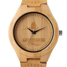 Bamboo Natural Wood Men Watch Minimalist Quartz Watches Genuine Leather Strap Casual Sports Clock St. Petersburg Exquisite Gift
