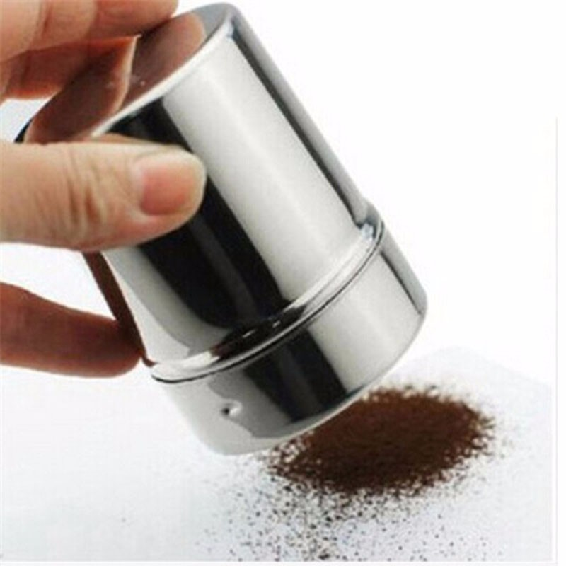 1pcs Stainless Steel Chocolate Shaker Cocoa Flour Icing Sugar Powder Coffee Sifter with Lid Coffee Sets Tools Accessories|Coffee Stencils| |  - title=
