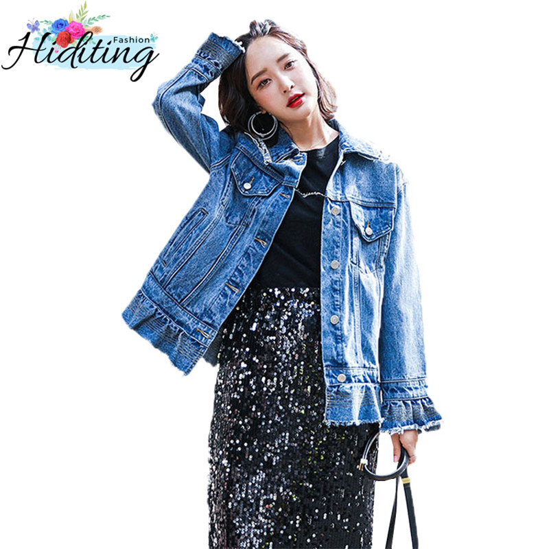 Denim Jacket Women 2019 Spring Fashion New Loose Coat Single Breasted Slim Ruffled Lace Embellished Denim Outerwear Female WIN77