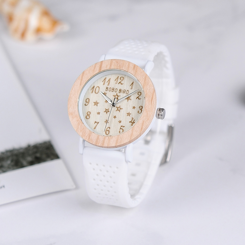 BOBO BIRD P21 Wooden Women Watches Star Series Ladies Quartz Dress Watch with White Strap|watch with|watch series|watch star - title=