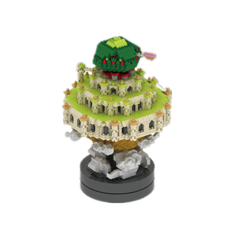 3000Pcs Mini Castle in the Sky Music Box Block Set Diy Cartoon Model Nano Building Brick