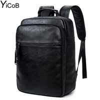 YiCoB Soft Leather Backpack Fashion Travel Men Rucksacks For Laptop IPad College Student Boy School Bags