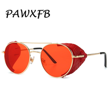 PAWXFB 2019 New Round Punk Sunglasses Women Men Vintage Steampunk Sun Glasses Red Black Eyewear