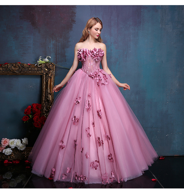 100real flower fairy beading floral vine ball gown
