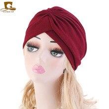 イスラム教徒の新しい女性軟質弾性ターバン帽子スカーフ化学療法化学スカルビーニー帽子がん脱毛アクセサリー