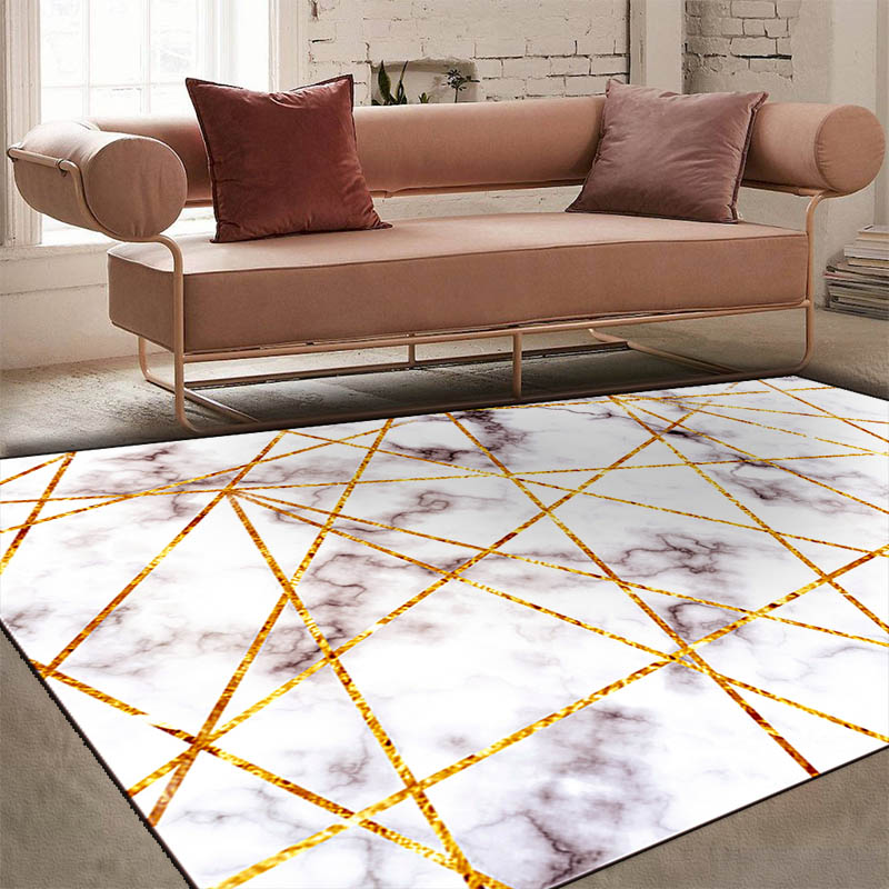 Marbre nordique métal style à la mode salon 140x200 cm taille grand tapis chambre chevet tapis cristal velours HD tapis d'impression