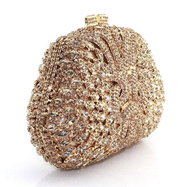 2016 Fashion Gold Box Crystal Rhinestone Evening Bag Indian Bridal Clutch Las Handbag