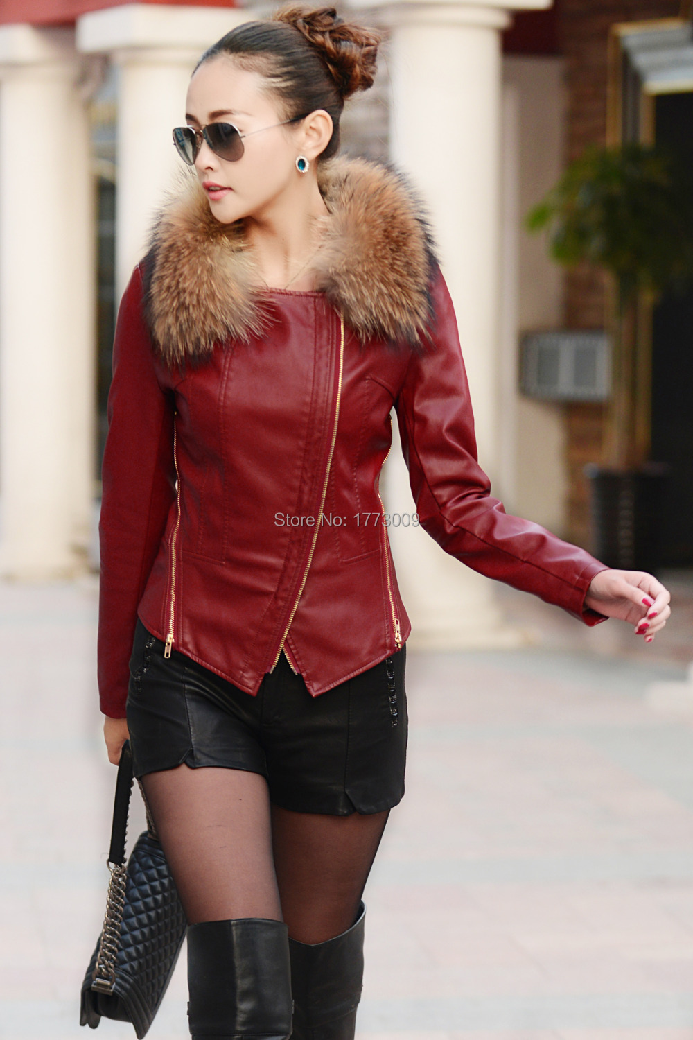 Leather Jacket Women Jackets Coat Slim Biker Motorcycle Soft ...