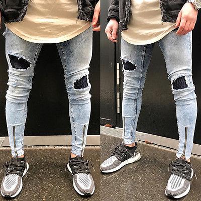 41793b934d6fb Boho Men  Ripped Slim Fit Skinny Jeans Stretch Denim Zipper Distress Frayed  Biker Elastic Patchwork Jeans Boys New Hot