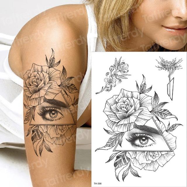 5cbf6e902 tattoo temporary black sleeve tattoo flower eye tattoos transfer geometric  triangle tattoo for men women body painting girls