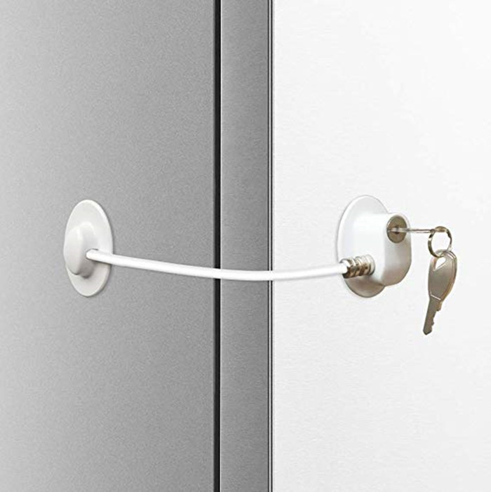 Free Shipping Baby Safety Refrigerator Door Lock Cabinet Drawer Lock Strong Adhesive Cable Lock Security Door Lock White