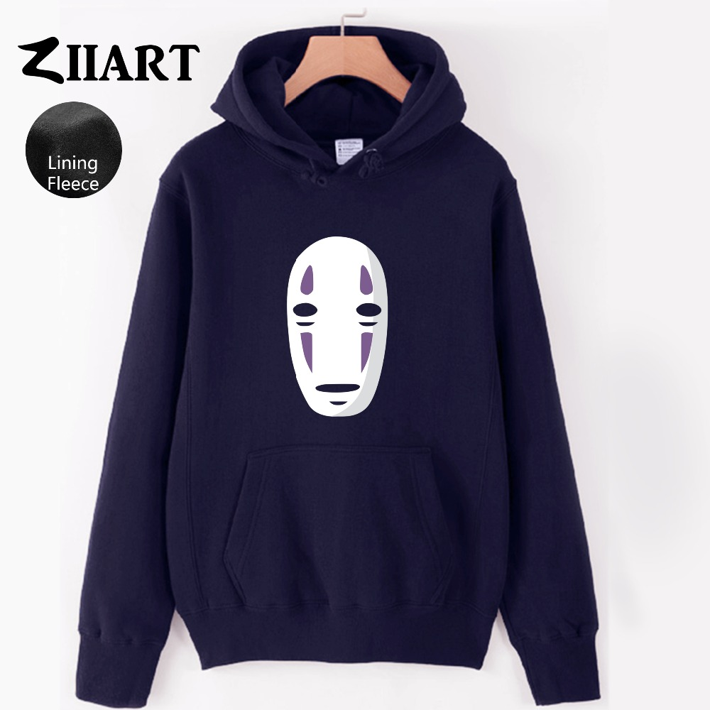 Woman Hoodie No Face Man Faceless Spirited Away Miyazaki Hayao Mysterious Ghost White Mask Female Girls Fleece Polyester