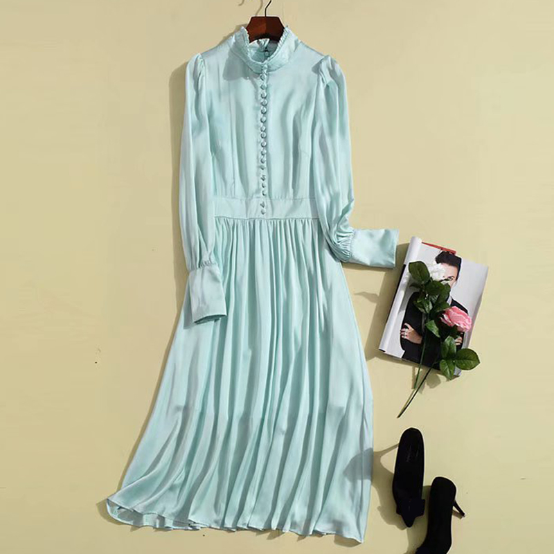 Red RoosaRosee Runway Summer England Vintage Stand Collar Long Sleeve Midi Dress Women Elegant Party Dresses