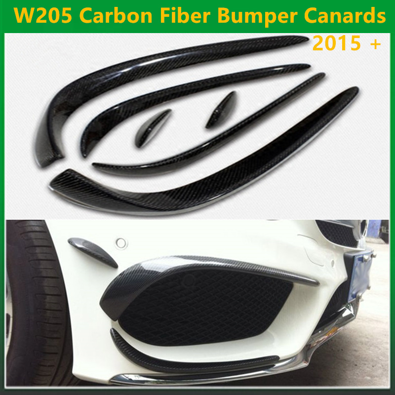 Mercedes W205 Carbon Fiber Bumper Canards For Benz C Class W205 With AMG Package C63 AMG 2015 + C180 C200 C250 Splitter Canards yandex mercedes x156 bumper canards carbon fiber splitter lip for benz gla class x156 with amg package 2015 present