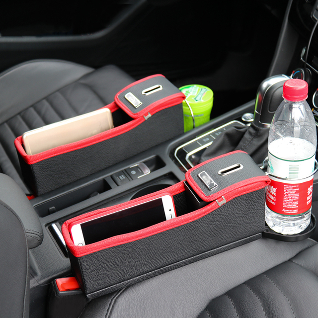 Car Seat Gap Pocket Organizer Leak Proof Storage Bag With Drinks Holder Multifunctional