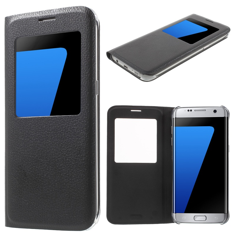 Case for Galaxy S 7 edge Case Litchi Texture View Window PU Leather Cover for Samsung Galaxy S7 edge G935 Cover Mobile Phone Bag