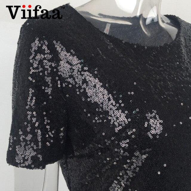 Viifaa Paillettes Or Dress 2017 D'été Femmes Sexy Courtes T Chemise Dress Soirée Élégante Club Robes