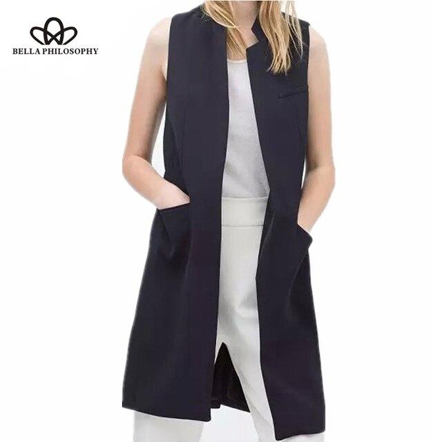 Bella Triết Lý blazer phụ nữ giản dị vest áo ghi lê phụ nữ dài phù hợp với vest nữ áo khoác nữ áo khoác màu đen túi phụ nữ văn phòng