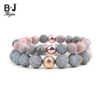 BOJIU élastique naturel Agates pierre de lave Couple Distance Bracelets aromathérapie huiles essentielles diffuseur unisexe Bracelets BC303