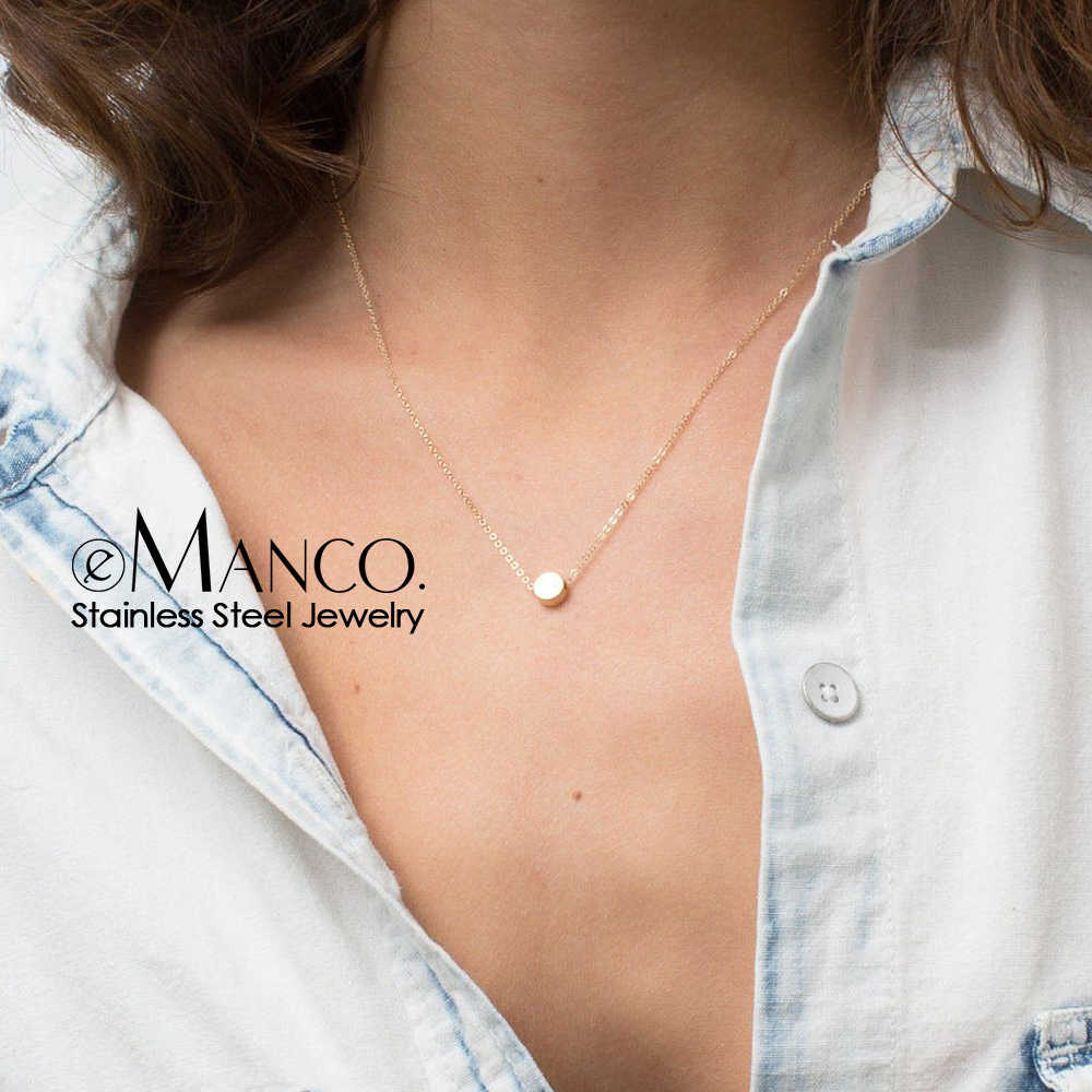 e-Manco Stainless Steel Necklace Women Minimalist Dainty Necklace for women small Pendant Necklace Brand Luxury Jewelry