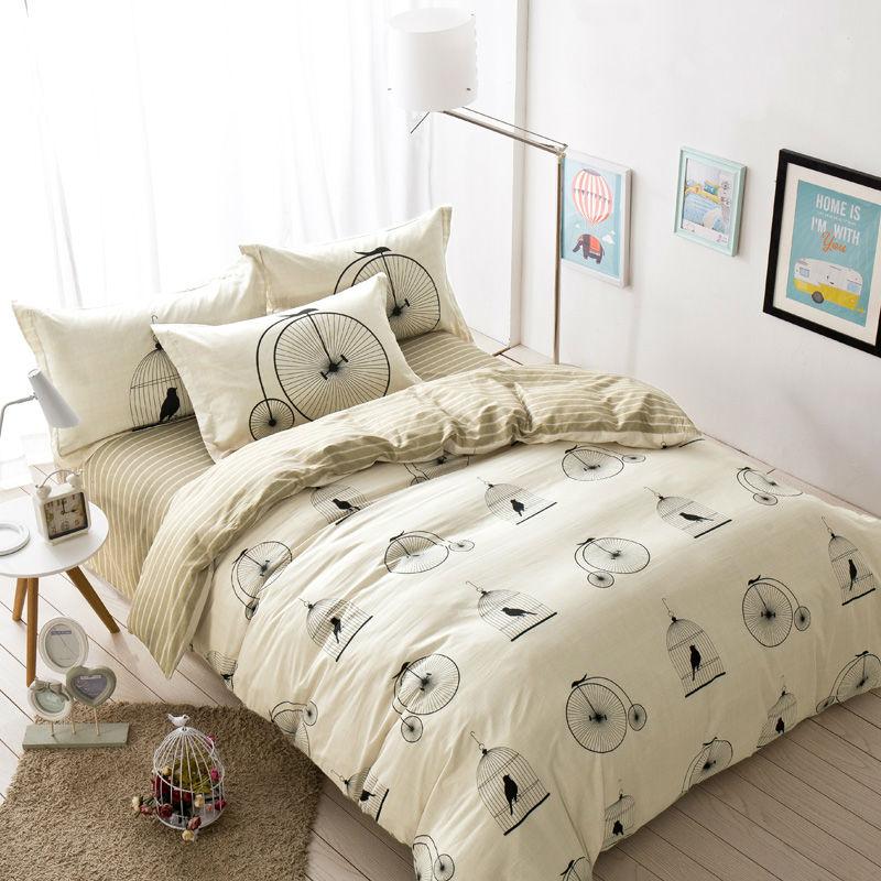 simple style cage bikes pattern beige 100 cotton linens bedding sets size duvet coverflat - Queen Size Duvet Cover