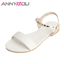 Купить с кэшбэком ANNYMOLI Flats Sandals Natural Leather Summer 2018 Shoes Women Sandals Ankle Strap Studs Flats Casual Shoes Plus Size 42 43 44