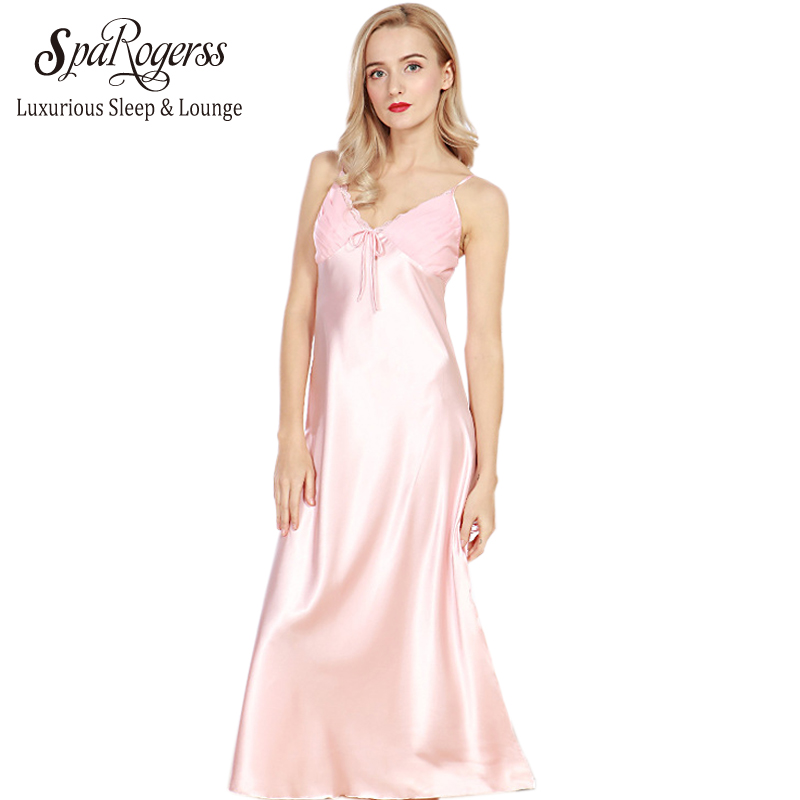 SpaRogerss Long Women Nightgowns 2017 New Faux Silk Ladies ...