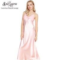 SpaRogerss Long Women Nightgowns 2017 New Faux Silk Ladies Split Summer Long Sexy Lace Sleep Dressing