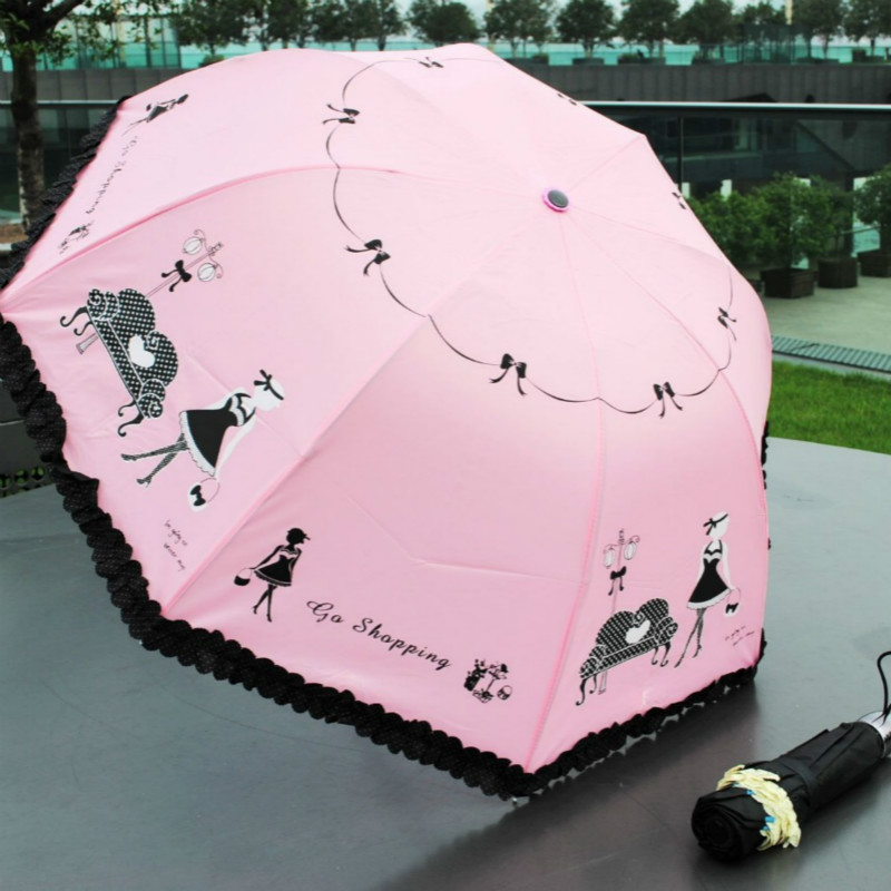Compact Lace Rain CLEAR Umbrella Beach Patio Novelty GIFTS
