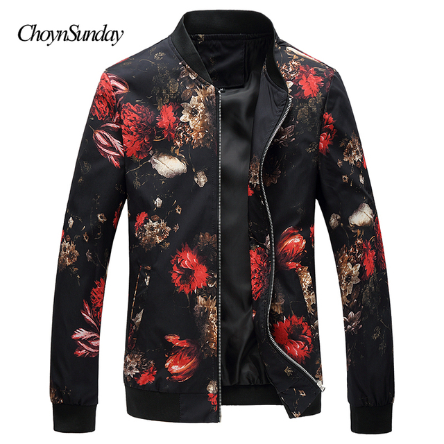 3aa31fe30 2018 New Autumn Bomber Jacket Men Floral Printed Fashion Slim Fit ...